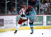 Press Eye - Belfast, Northern Ireland - 01st February 2020 - Photo by William Cherry/Presseye. Belfast Giants\' Elgin Pearce with Cardiff Devils\' Sam Jardine during Sunday afternoons Elite Ice Hockey League game at the SSE Arena, Belfast.   Photo by William Cherry/Presseye