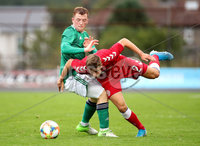 Press Eye - Belfast, Northern Ireland - 0th September 2020 - Photo by William Cherry/Presseye. Northern Ireland\'s Shayne Lavery with Denmark\'s Rasmus Carstensen during Tuesday nights U21 Euro Qualifier at the Ballymena Showgrounds, Ballymena.      Photo by William Cherry/Presseye