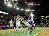 Press Eye - Belfast -  Northern Ireland - 30th November 2018 - Photo by William Cherry/Presseye. San Francisco\'s Nate Renfro with Stephen F. Austin\'s Kevin Harris during Friday afternoons game in the Goliath bracket of the Basketball Hall of Fame Belfast Classic at the SSE Arena, Belfast.