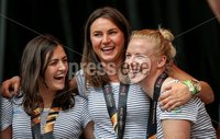 Irish Hockey Team Homecoming, Dublin 6/8/2018. Ireland\'s Roisin Upton, Deirdre Duke and Ayeisha McFerran. Mandatory Credit  ©INPHO/Tommy Dickson
