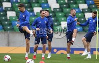 PressEye-Northern Ireland- 10th September  2018-Picture by Brian Little/ PressEye. Northern Ireland  Craig Cathcart  and  Niall McGinn    training ahead of Tuesday Friendly International Challenge match against Israel  at the National Football Stadium at Windsor Park.. Picture by Brian Little/PressEye .