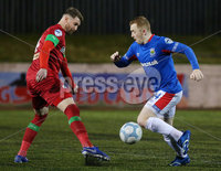 Danske Bank Premiership at Solitude, Belfast.  13.01.2020. Cliftonville FC vs Linfield FC. Cliftonvilles Garry Breen with Linfields Shayne Lavery. Mandatory Credit INPHO/Jonathan Porter