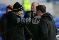 Mandatory Credit - Picture by Freddie Parkinson/Press Eye ©. Saturday 21st November 2015. NIFL Premiership. The Showgrounds, Coleraine.. Coleraine FC vs. Carrick Rangers FC. Carrick\'s Mark Hughes and Gary Haveron.