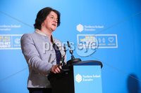 Press Eye - Belfast - Northern Ireland - 29th June 2020 -  . First Minister Arlene Foster during the daily media broadcast in the Long Gallery at Parliament Buildings, Stormont on Monday.. Picture by Kelvin Boyes / Press Eye.