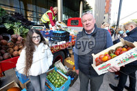 Press Eye - Belfast - Northern Ireland - 10th October 2020. Get Fresh a local supplier of fruit and vegetables is giving away their stock due to the new coronavirus restrictions that are due to come into force on Friday evening.. Olivia McMahon who will benefit from the donations  along with Harry Crawford from Get Fresh.. Context:. Olivia McMahon has a 70 degree curve in her spine and her family are raising money to help get her corrective surgery.. Picture by Matt Mackey / Presseye.
