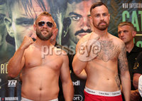 Press Eye - Belfast - Northern Ireland - 29th June 2018. Weigh in at the Europa Hotel in Belfast ahead of Michael Conlan\'s homecoming fight against Brazilian Adeilson Dos Santos at the SSE Arena on Saturday night. . Left to right.  Richard Hegyi and Taylor McGoldrick go head-to-head after the weigh in. . Picture by Jonathan Porter/PressEye
