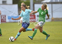 Press Eye - Belfast - Northern Ireland - 8th June. World Cup qualifier - Northern Ireland  v Netherlands at Shamrock Park Portadown.. Northern Irelands Rachel Newborough  in action with Netherlands Like Martins . Mandatory Credit: Presseye/Stephen Hamilton