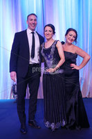 Press Eye - Belfast - Northern Ireland - 6th February 2017 -  . Belfast Telegraph Sports Awards 2016.. Award 3 - Malcolm Brodie Player of the Year award. Rory Best won the Malcolm Brodie Player of the Year award, sponsored by Celerion. Paula Quinn, Recruitment Manager from Celerion and rugby legend Stephen Ferris presented the award to Jodie Best, Rory's wife.. Photo by Kelvin Boyes / Press Eye..