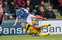 . Danske Bank Premiership Play-Off, Seaview, Belfast 14/4/2018 . Crusaders vs Linfield. Mandatory Credit ©INPHO/Stephen Hamilton. Crusaders Brian Jensen  with Linfields Stephen Fallon