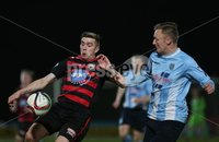 Picture credit © Matt Mackey - Presseye.com . Belfast - Northern Ireland - 12th February 2016.            . Danske Bank Premiership Ballymena United v Coleraine at the Showgrounds Ballymena.. Ballymena\'s Stephen McBride in action with Coleraine\'s Ian Parkhill.