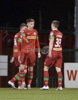 9thFebruary 2021. Danske Bank Irish league,Solitude,Belfast. Cliftonville v Warrenpoint Town .. Cliftonvilles Ryan Curran celebrates after scoring. Mandatory Credit   Inpho/Stephen Hamilton