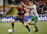 25/01/2020. Danske Bank Premiership, Seaview, Belfast Co. Antrim . Crusaders v Cliftonville . Crusaders  Paul Heatley in action with Cliftonvilles Chris Curran . Mandatory Credit INPHO/Stephen Hamilton.
