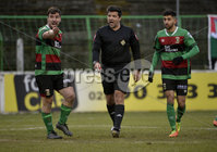 29/02/20. Sadlers Peaky Blinders Irish Cup Quarter final between Glentoran  and Crusaders at the Oval Belfast. Referee Andrew Davey  . Mandatory Credit - Inpho/Stephen Hamilton.