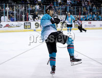Press Eye - Belfast -  Northern Ireland - 24th August 2019 - Photo by William Cherry/Presseye . Belfast Giants\' celebrates scoring against Herning Blue Fox during Saturday nights Exhibition Game at the SSE Arena, Belfast.    Photo by William Cherry/Presseye