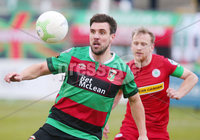 Danske Bank Premiership at the Oval in Belfast . 07.03.2020. Glentoran Vs Cliftonville. Glentorans Gavin Peers with Cliftonvilles Liam Bagnall. Mandatory Credit INPHO/Jonathan Porter