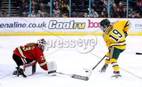 Press Eye - Belfast -  Northern Ireland - 05th January 2019 - Photo by William Cherry/Presseye. Northeastern University\'s Aerin Frankel with Clarkson University\'s Loren Gabel during Saturdays inaugural Womens Friendship Series game at the SSE Arena, Belfast.   Photo by William Cherry/Presseye