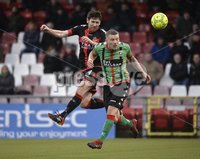 Danske Bank Premiership, Seaview Belfast.. Co Antrim 02/12/17. Crusaders v Glentoran. Mandatory Credit ©INPHO/Stephen Hamilton. Crusaders Howard Beverland  in action with Glentorans Eric Foley.