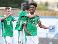 Press Eye Belfast - Northern Ireland 7th September 2018. U19 International Challenge Match - Northern Ireland Vs Slovakia at The Showgrounds, Newry.. Northern Ireland\'s Tyrone Lewthwaite celebrates after scoring to make it 3-1. . Picture by Jonathan Porter/PressEye.com