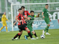 Wednesday 11th July 2018. UEFA Champions League First Qualifying Round First Leg between PFC Ludogorets Razgrad and Crusaders FC .. Ludogorets Svetoslav Atanasov Dyakov in action with Crusaders Michael Carvill. Mandatory Credit: Inpho/Stephen Hamilton