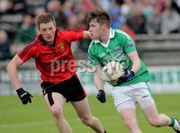 Presseye Northern Ireland - 03rd June 2012 Mandatory Credit - Photo-William Cherry/Presseye. Fermanagh\'s Paul Coalter with Down\'s Conor McGrady during Sundays Ulster GAA Football Minor Championship Quarter Final at Brewster Park, Enniskillen.