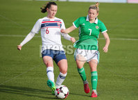 Press Eye - Belfast - Northern Ireland - 8th October 2019. European Women\'s U19 Championship 2020 Qualifying Round -  Northern Ireland Vs Norway, Seaview. Northern Ireland\'s Rebecca McKenna with Norway\'s Elisabeth Terland.. Picture by Jonathan Porter/PressEye