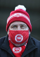Danske Bank Premiership, Inver Park, Co. Antrim, Northern Ireland 21/11/2020. Larne vs Cliftonville. Larne fan supporting his team against  Cliftonville during Saturday\'s  Danske Bank Premiership match at Inver Park, Larne. . From next week all games will be played behind closed doors for two weeks, due to Covid-19 restrictions.. Mandatory Credit INPHO/Presseye/Brian Little