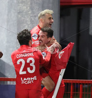 Danske Bank Premiership, Inver Park, Co. Antrim, Northern Ireland 21/11/2020. Larne vs Cliftonville. Larne Joshua Robinson celebrates  with Tomas Cosgrove and  David McDaid after scoring  the winning goal in injury time against  Cliftonville  during Saturday\'s  Danske Bank Premiership match at Inver Park, Larne.. Mandatory Credit INPHO/Presseye/Brian Little