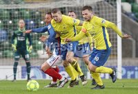 Danske Bank Premiership, Windsor Park, Belfast 10/2/2018. Linfield vs Dungannon Swifts. Linfield\'s Achille Campion in action with David Armstrong,  Seanan Clucas and Ryan Harpur of Dungannon. Mandatory Credit ©INPHO/Declan Roughan