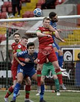 9th January 2021. Danske Bank Premiership, Solitude, Belfast . Cliftonville vs Crusaders. Cliftonville\'s Chris Curran   in action with Crusaders Chris Hegarty . Mandatory Credit INPHO/Stephen Hamilton