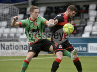 Danske Bank Premiership, Seaview Belfast.. 10/02/2018.  Crusaders v Glentoran. Crusaders Darren Murray   in action with Glentorans Johnny Addis. Mandatory Credit ©INPHO/Stephen Hamilton.