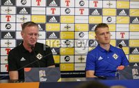 PressEye-Northern Ireland- 7th September  2018-Picture by Brian Little/ PressEye. Northern Ireland\'s   Manager Michael O\'Neill  and captain Steven Davis attending a    press conference  ahead of Saturday\'s  UEFA Nations League match against Bosnia and Herzegovina at the National Football Stadium at Windsor Park.. Picture by Brian Little/PressEye .