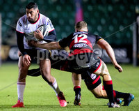 Guinness PRO14, Rodney Parade, Newport, Wales 1/12/2017. Dragons vs Ulster. Ulster\'s Charles Piutau on the attack. Mandatory Credit ©INPHO/Bob Bradford