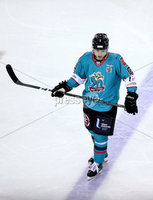 Press Eye - Belfast, Northern Ireland - 06th December 2019 - Photo by William Cherry/Presseye. Belfast Giants\' Patrick Mullen celebrates scoring against the Sheffield Steelers during Friday nights Elite Ice Hockey League game at the SSE Arena, Belfast.       Photo by William Cherry/Presseye