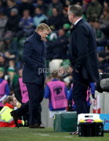 Press Eye - Belfast, Northern Ireland - 16th November 2019 - Photo by William Cherry/Presseye. Netherlands head coach Ronald Koeman and Northern Ireland manager Micheal O\'Neill during Saturday nights UEFA Euro 2020 Qualifier against Netherlands at the National Stadium, Belfast.     Photo by William Cherry/Presseye
