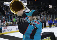 Press Eye - Belfast -  Northern Ireland - 06th April 2019 - Photo by William Cherry/Presseye. Belfast Giants\' Andrew Dickson pictured with the Elite Ice Hockey League trophy after being crowned Champions at the SSE Arena, Belfast.       Photo by William Cherry/Presseye