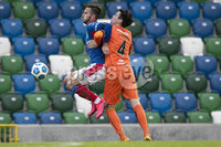 Danske Bank Premiership, National Football Stadium at Windsor Park, Belfast, Northern Ireland 17/10/2020. Linfield vs Carrick Rangers. Linfields Andrew Waterworth with Captain Mark Surgenor. of Carrick Rangers. Mandatory Credit INPHO/Declan Roughan