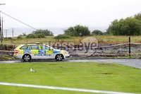 Press Eye - Belfast - Northern Ireland - 27th July 2020 - . General view PSNI officers at the scene where a man has sustained gunshot wounds during a shooting in Carrickfergus, County Antrim.. They said they received a report at 10.00pm on Sunday that a man had sustained
