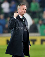 Press Eye - Belfast, Northern Ireland - 16th November 2019 - Photo by William Cherry/Presseye. Northern Ireland manager Micheal O\'Neill at the final whistle waves to the fans for which could be the last time as the Manager at the National Stadium after Saturday nights UEFA Euro 2020 Qualifier against Netherlands at the National Stadium, Belfast.     Photo by William Cherry/Presseye