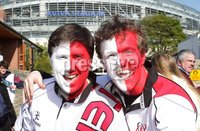 ©Press Eye Ltd Northern Ireland -28th April 2012. Mandatory Credit - Picture by Darren Kidd/Presseye.com .  . HEINEKEN CUP SEMI-FINAL: ULSTER V EDINBURGH, AVIVA STADIUM, DUBLIN..  Ulster fan Adam Nathan Stewart and Matthew Thompson at the Aviva Stadium ahead of Saturday\'s Heineken Cup semi-final