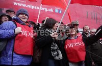 Northern Ireland- 10th May 2012 Mandatory Credit - Photo-Jonathan Porter/Presseye.  Unions strike over public sector pension cuts.  Members of Nipsa, Unite, the Public and Commercial Services Union (PCS) and the University and College Union (UCU) hold a 24-hour strike  over the cuts.  NIPSA members hold a strike in Belfast City Centre.