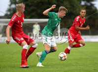 Press Eye - Belfast, Northern Ireland - 0th September 2020 - Photo by William Cherry/Presseye. Northern Ireland\'s Alfie McCalmont with Denmark\'s Lukas Klitten during Tuesday nights U21 Euro Qualifier at the Ballymena Showgrounds, Ballymena.      Photo by William Cherry/Presseye