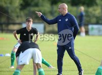 PressEye-Northern Ireland- 19th August  2019-Picture by Brian Little/PressEye. Northern Ireland U16 Coach Gerard Lyttle against  Estonia U16   during Monday evening\'s challenge match at Breda Park (Knockbreda FC).. Picture by Brian Little/PressEye .