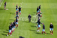 Press Eye - Belfast - Northern Ireland - 27th July 2020 - . Ballymena United FC v Coleraine FC Sadler\'s Peaky Blinder Irish Cup Semi Final at the National Football Stadium at Windsor Park.. Ballymena warm up ahead of the match. . Photo by Jonathan Porter Press Eye.