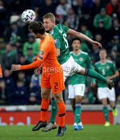 Press Eye - Belfast, Northern Ireland - 16th November 2019 - Photo by William Cherry/Presseye. Northern Ireland\'s George Saville with Netherlands\' Joel Veltman during Saturday nights UEFA Euro 2020 Qualifier at the National Stadium, Belfast.     Photo by William Cherry/Presseye