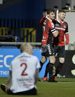 12th December  2020. Danske Bank Irish premier league match between Crusaders and Portadown at Seaview Belfast. Crusaders Philip Lowry celebrates after scoring . Mandatory Credit   Inpho/Stephen Hamilton