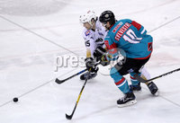 Press Eye - Belfast -  Northern Ireland - 12th January 2018 - Photo by William Cherry/Presseye. Belfast Giants Sebastien Sylvestre with Nottingham Panthers Steve Lee during Friday nights Elite Ice Hockey League game at the SSE Arena, Belfast.