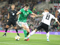 PressEye-Northern Ireland- 9th September  2019-Picture by Brian Little/PressEye. Northern Ireland  Patrick McNair penalty  claim against  Germany  Toni Kroos   during Monday\'s  European Championship Qualifying Group C match  at the National  Football Stadium at Windsor Park,Belfast.. Picture by Brian Little/PressEye .