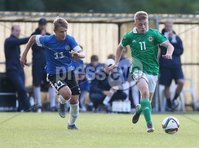 PressEye-Northern Ireland- 19th August  2019-Picture by Brian Little/PressEye. Northern Ireland U16 Charlie Lindsay    and Estonia U16 Gregor Lehtmets  during Monday evening\'s challenge match at Breda Park (Knockbreda FC).. Picture by Brian Little/PressEye .