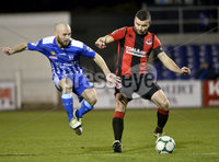 Danske Bank Premiership, The Showgrounds Newry 11/01/2019. Newry vs Crusaders. Newrys Stephen Hughes  with Crusaders Colin Coates. Mandatory Credit INPHO/Stephen Hamilton.