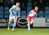 Danske Bank Premiership, Showgrounds, Ballymena. 14/2/2020. Ballymena United  vs Linfield FC. Ballymena United\'s Scott Whiteside  and Kirk Millar  of Linfield.. Mandatory Credit  INPHO/Brian Little